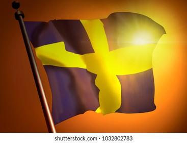 winner waving Sweden flag against the sunset, 3d illustration