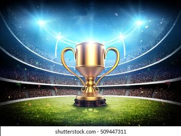 winners cup in stadium 3d rendering