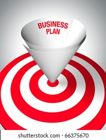 Winning business plan - A paper funnel help to center the target - business concept. 3D image.