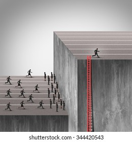 Winning strategy plan as a smarter more cunning businessman using a hidden ladder to rise above an industry obstacle and rise above the competition who are blocked by a high wall barrier.