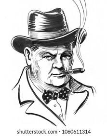 Winston Churchill. Ink black and white illustration