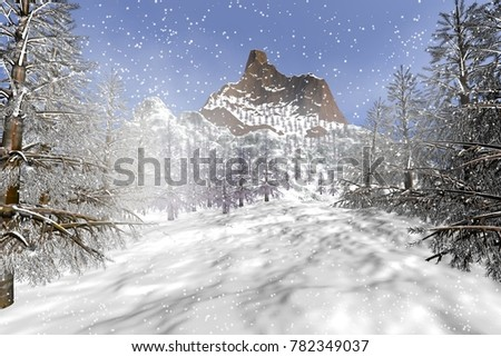 Winter, 3D rendering, an alpine landscape, snow and fog in the forest of coniferous trees.