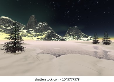 Winter, 3D rendering, a night landscape, snow on the ground and in the mountains, coniferous trees next to the lake and stars in the  sky.