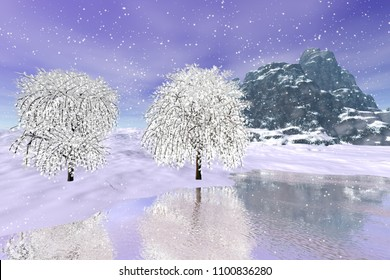 Winter, 3D rendering, a polar landscape, snowy trees, frozen waters, rocky mountain in the background and a cloudy sky.