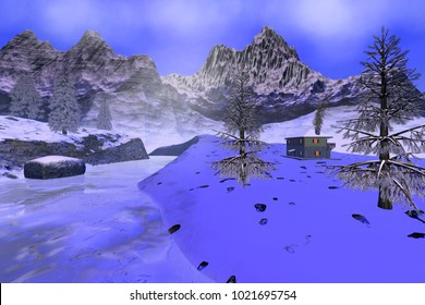 Winter, 3D rendering, a snowy landscape, smoke in the fireplace of the house, a frozen river and beautiful trees.