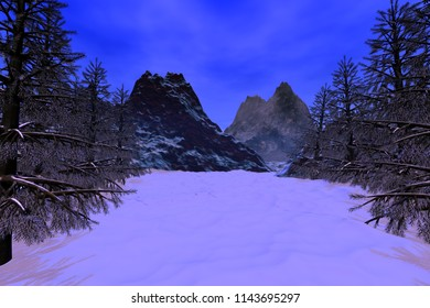Winter, 3D rendering, a snowy landscape, coniferous trees, mountains and a blue sky.