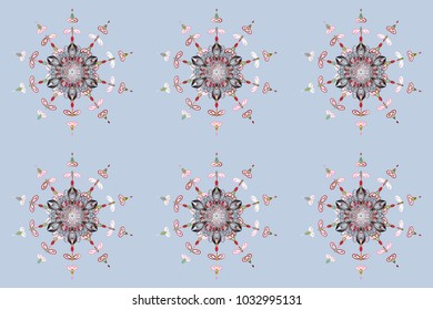 Winter abstract background. Christmas background with snowflakes. Raster christmas abstract colorful background with cute snowflake. Raster illustration.