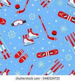 Winter activities seamless pattern. illustration. Childish outdoors repeat texture. Template print with sports equipment, cute snowflakes, snow. red and blue colors