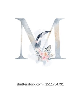 Winter alphabet of elegant decorated letters. Watercolor letter M with moon, bird, bouquet of roses and fog. Element for design