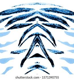 Winter Animal Texture.  Animal Printing. Neon Blue Animal Skin Sketch. Winter Color Grunge Material. Royal Bengal Tiger. Sufari Fashion Texture. Snowy Tiger Stripes.