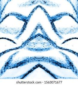 Winter Animal Texture.  Royal Bengal Tiger. Navy Blue Graffiti Drawing. Blue, White Minimal Sketching. Safari Geometric. Sufari Fashion Texture. Snowy Tiger Stripes.