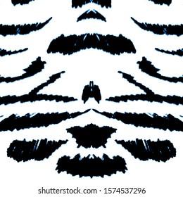 Winter Animal Texture.  Royal Bengal Tiger. Winter Color Animal Skin Sketch. Blue, White Contemporary Art. Zebra Geometric. Sufari Fashion Texture. Snowy Tiger Stripes.
