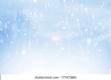 Winter background. Winter bright landscape with snowdrifts and falling snow with tree ,Sun light and blue blurry background.Concept for winter background,Snow and cute pastel December background Bokeh
