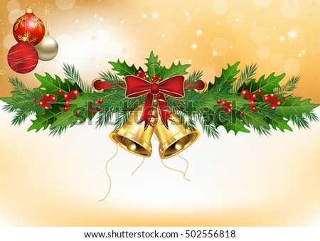 winter background with christmas decorations mistletoe christmas baubles jingle bells format a3
