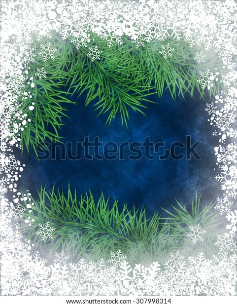 Winter background of pine branch through the frozen window. Raster version