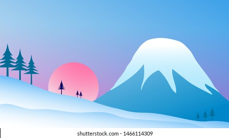 Winter Background snow capped mountain with Snow hill at sun rise
