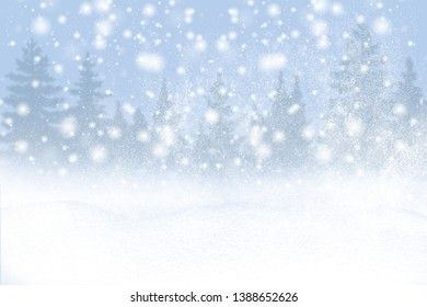 Winter background of snow and frost with free space for your decoration. Christmas background with fir trees and blurred bokeh.Winter landscape