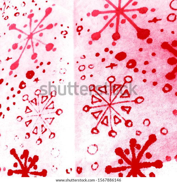 Winter Background Snowflakes. Burgundy Drawn Snowflake. Pink Winter Plants Snowflakes. Christmass Xmas Graphics. Christmass Watercolor Snow Pattern.