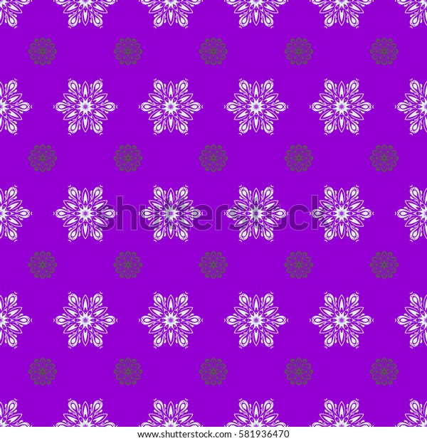 Winter background with snowflakes and dots. Seamless pattern on violet background.