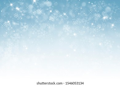 Winter background with snowflakes, stars and falling snow