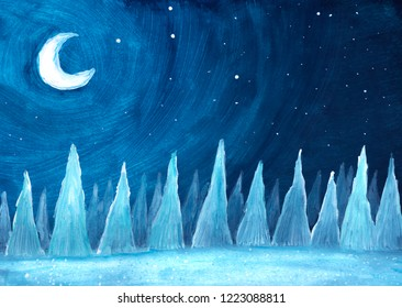 Winter background. Snowy fir trees at night painted in gouache