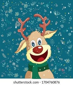 winter background stylized reindeer icon cartoon character
