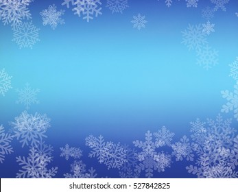 Winter Blue Background with Snowflakes, Free Space for Your Text