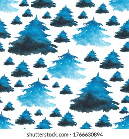 Winter blue spruce in seamless pattern on white background. Watercolor hand drawing illustration of fir tree. Perfect for digital paper, scrapbooking, cover, wrapping, winter design.
