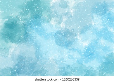 Winter blue watercolor background with snow