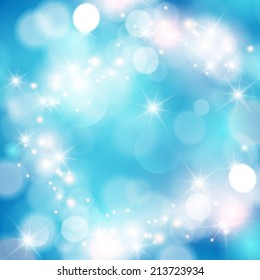 Winter bokeh background with sparkle stars.