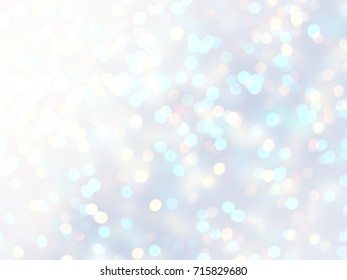 Winter bokeh lights defocused pattern. Blurred snow glitter background. Iridescent white blue abstract texture. Brilliance pale backdrop. Xmas holiday decoration. Shimmer wonderful template.