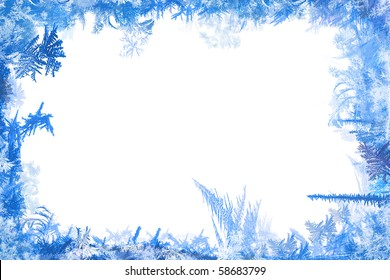 Winter border of frost and ice illustration shapes with white background
