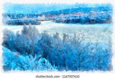 Winter, a bright landscape with a frozen river in watercolor. Digital painting