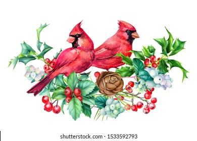 winter card, beautiful birds red cardinals watercolor on a white background, christmas composition, new year holiday