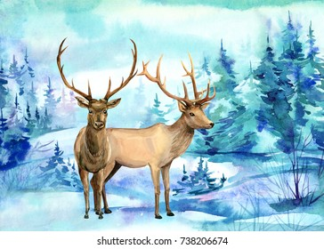 Winter card with a deer and a landscape,  watercolor illustration, hand drawing,
