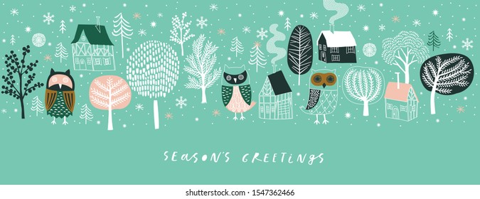 Winter Christmas banner. Background Xmas design  with  cute owls, houses and winter trees. Horizontal Christmas poster, greeting card, header, website