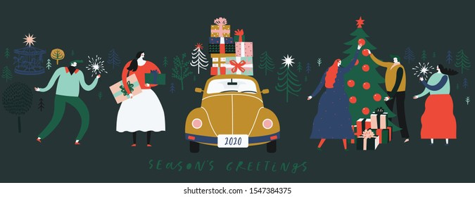 Winter Christmas banner. Background Xmas design  with people decorate a Christmas tree, celebrate Christmas, retro car with gifts. Horizontal Christmas poster, greeting card, header, website