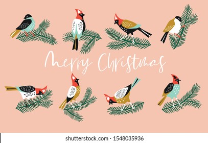 Winter Christmas banner. Background Xmas design  with  cute birds on the branches. Horizontal Christmas poster, greeting card, header, website