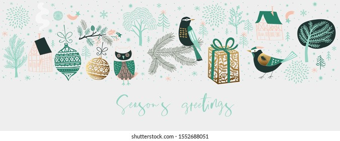 Winter Christmas banner. Background Xmas design  with  cute birds, houses and winter trees. Horizontal Christmas poster, greeting card, header, website