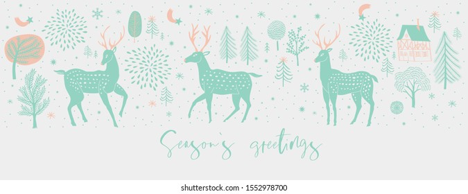 Winter Christmas banner. Background Xmas design  with  raindeers, houses and winter trees. Horizontal Christmas poster, greeting card, header, website