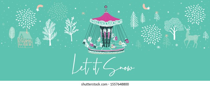 Winter Christmas banner. Background Xmas design  with carousel and winter trees. Horizontal Christmas poster, greeting card, header, website