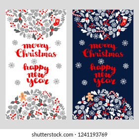 Winter Christmas card. Christmas greeting card with wreath, Christmas socks and gingerbread Man. Perfect for Christmas and New Year greetings, invitation. bitmap