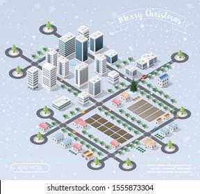 Winter Christmas landscape urban isometric