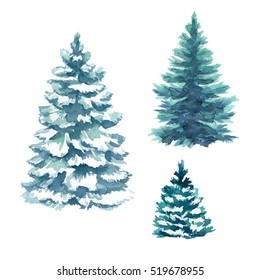winter Christmas trees set, nature clip art, fir illustration, conifer, landscape, outdoor plants, isolated on white background