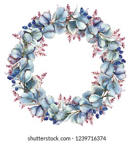 Winter Christmas wreath. Watercolor illustration. Berries, leaves, branches.