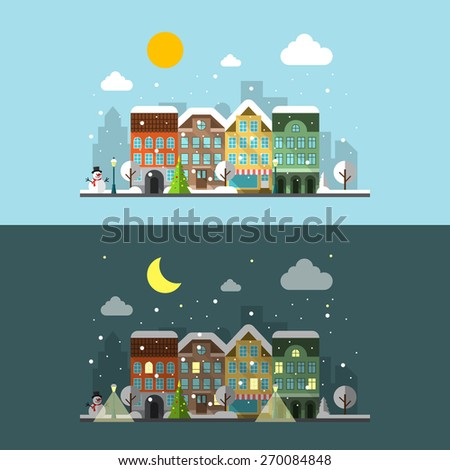 Winter city landscape in day and night. street. Happy winter, cloud and snowman