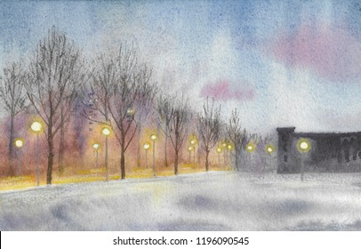the winter cityscape is painted with watercolor, the road is lit by lanterns between the houses and the wasteland