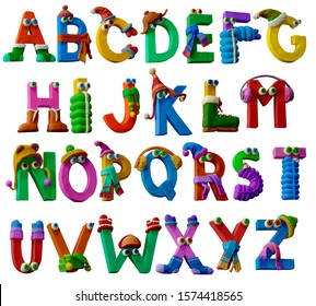 Winter clothes alphabet. Plasticine alphabet. Letters from A to Z. Winter clothes Font. Colorful Play dough (Plasticine or Clay).  Creat by hands. Isolated on white background.- 3D ilustration