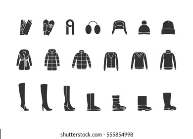 Winter clothes and shoes black icons set. Raster version