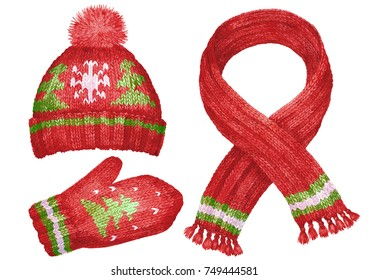 Winter clothing with Christmas patterns. Wool cap, scarf and mittens. Watercolor.